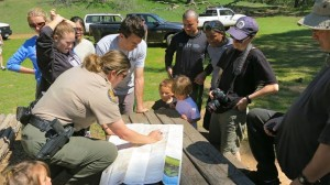 Understanding the route with Ranger Jen.