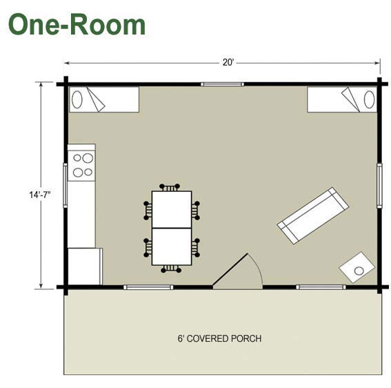 One room cabins with loft joy studio design gallery for One bedroom loft floor plans