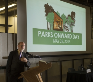 John Laird, California Secretary for Natural Resources, speaks at Parks Onward Day at the College of Environmental Design May 28, 2015.